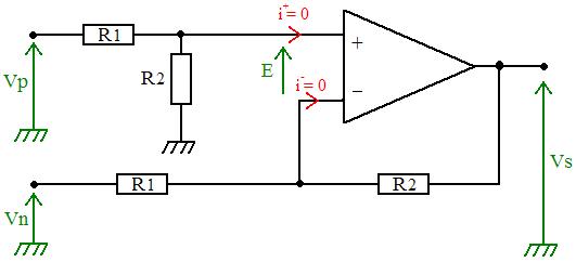 schema de l'amplificateur de différence