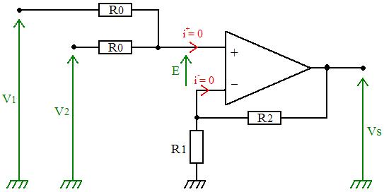 schema de l'additionneur non-inverseur