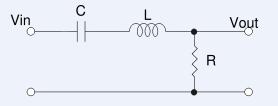 schéma du filtre passe bande de second ordre