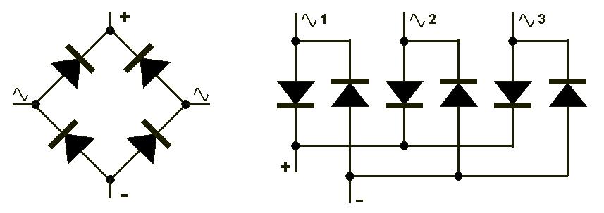 Pont de diodes biphasé et triphasé
